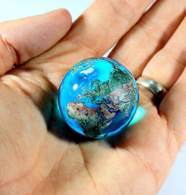 "Giant 35mm (1.4"") AQUA CRYSTAL Earth Globe Marble - Incredible Detail - Orrery"