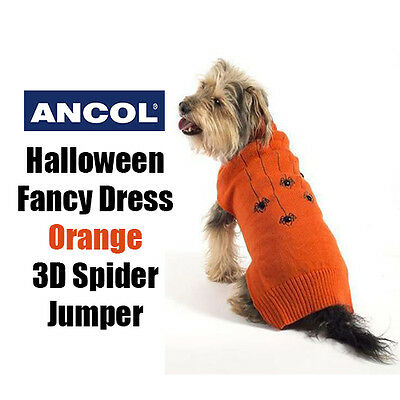 NEW Ancol Halloween Spooky Orange Spider Sweater Jumper Dog Fancy Dress 5 Sizes