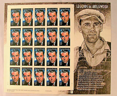 Full Sheet of 20 Legends of Hollywood .37 Self Adhesive Stamps MNH #3911 2004