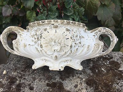 Antique French garden cast iron white Jardiniere planter pot ornate shell design
