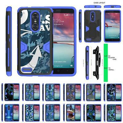 For ZTE ZMax Pro / Blade X Max Case Holster Belt Clip Kickstand Armor Blue Cover