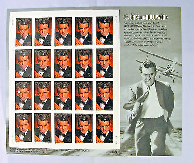 Cary Grant Legends of Hollywood, Sheet of 20 .37 Stamps #3692 MNH Free Ship