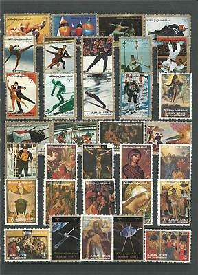 56 Stamp Ajman State Pictorial Collection Includes Sport-Religion-Space-Dogs
