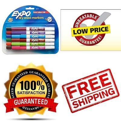 Expo Low-Odor Dry Erase Markers, Fine Point, Assorted Colors, 12-Count