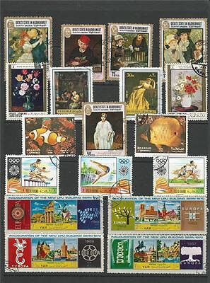 36 Stamp Sand Dunes Pictorial Collection Paintings-Sport-Space-Fish-Insects-UPU