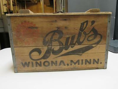 Vintage ~ Bub's Beer Wooden Crate with empty bottles Winona Minn 1939