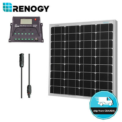 Renogy Solar Panel Off Grid 12V 50W Watts Kit RV Boat Home System 10A Controller