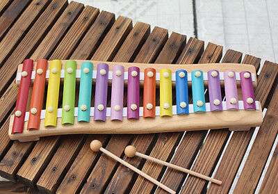 Large Wooden 15 Toned Xylophone Musical Instrument Educational Toys Kid Children
