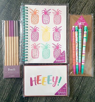 Lot Of 4 Target One Dollar Spot Notepad Pencils Notecards Spring Pineapple