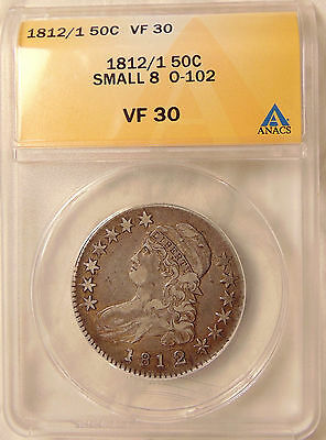 """1812/1 Capped Bust Half - O.102 """"Small 8"""" - ANACS VF30 - Very Nice Looking Coin"""