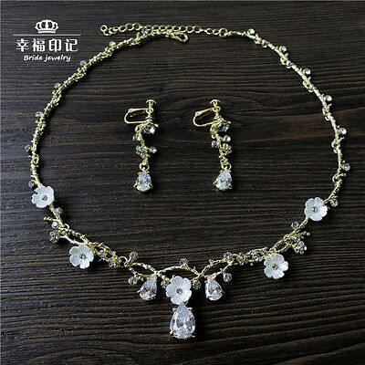 Sparkly Crystal Jewelry Set Necklace Earring Wedding Bridal Accessory For Gift