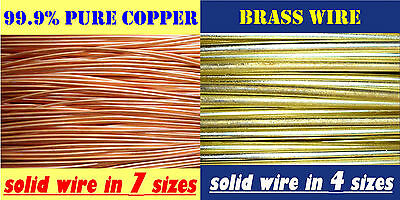 Assorted Sizes .91mm - 3.1mm Copper Wire, Brass Wire for Bonsai Jewellery Crafts