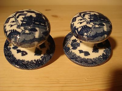 Pair Porcelain Blue Willow Door Knobs