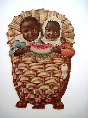Vintage Adorable Black Americana Card w/ Two Children In a Basket w/Watermelon *