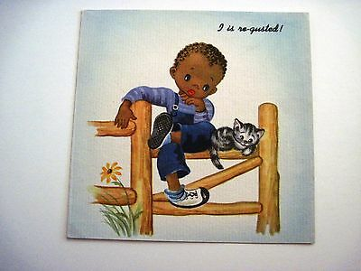Vintage Black Americana Card w/ Boy and His Kitten *