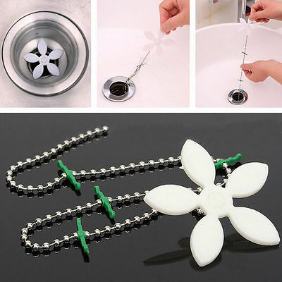 5x Kitchen Bathroom Shower Drain Wig Chain Cleaner Hair Clog Remover Clean Tools