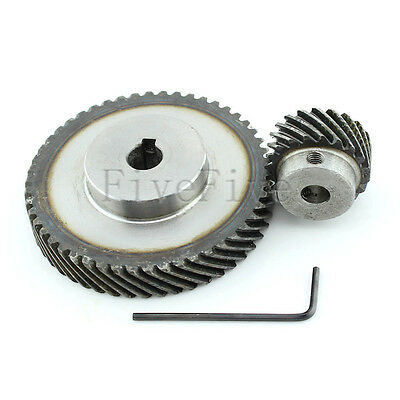1M 50T/20T Metal Helical Wheel Gear 90° Pairing Bevel Gearing Set Kit Ratio 5:2