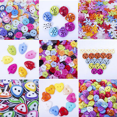 100PCS Plastic Cute Round Mixed-Color Handmade Sewing Buttons For Children