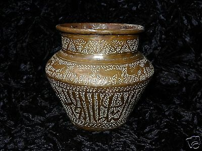 Antique Ottoman Persian Islamic Arabic Middle East Brass Bowl Vase