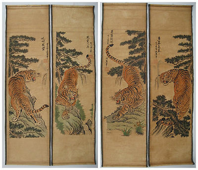 "Antique ANCIENT HANGING PAINTING SCROLL"" Tiger "" NICE SCREEN OF 4PCS"