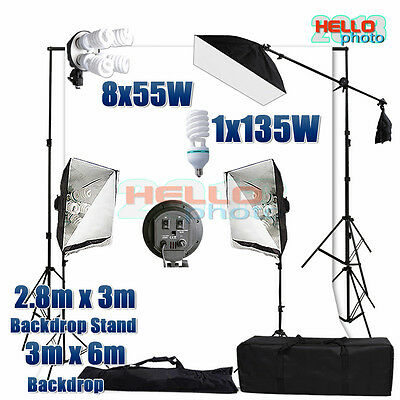 Photo Studio Soft Box Softbox Lighting Muslin Backdrop Background Stand Kit New