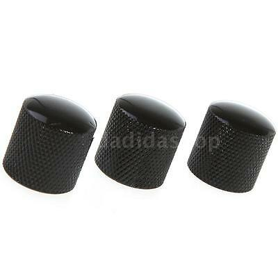 3PCS Metal Knobs Dome Knurled Barrel for Electric Guitar O8S3