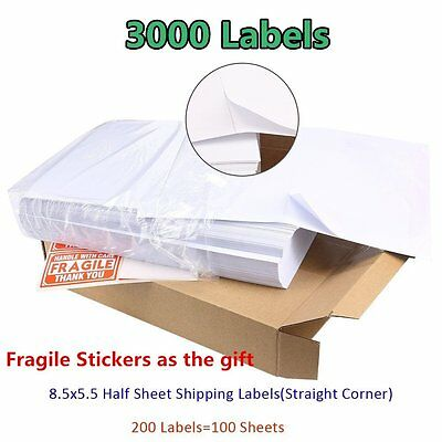 Labels 8.5x5.5 3000 Shipping Labels Half Sheet Self Adhesive - Paypal USPS FedEx
