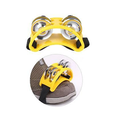 Foot Tambourine Percussion Musical Toy 2 Sets Metal Jingle Bell Yellow I3J0
