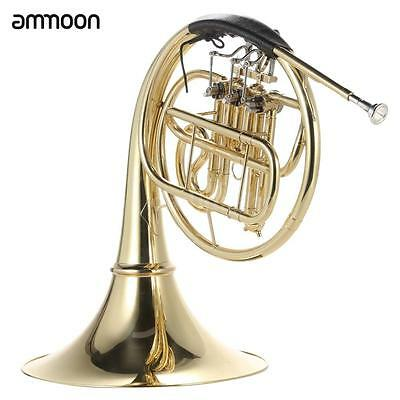 ammoon French Horn B/Bb Flat 3 Key Brass Gold Lacquer Single-Row Split+Case C4Y4