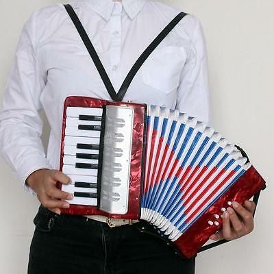 17-Key 8 Bass Accordion Musical Instrument for Kids Christmas Gift Red W3Z2