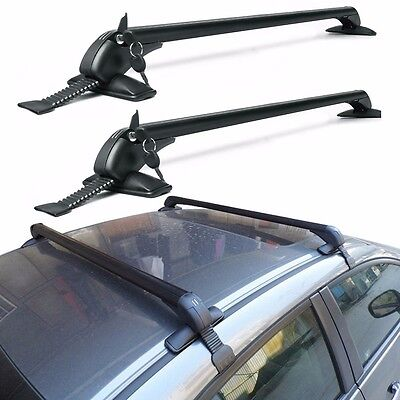 Universal Cars Black Anti Theft Car Roof Bars Without Rails Lockable Rack Box