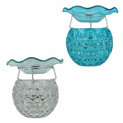 Village Candle Glass Wax Melt Burner In Clear & Blue 16 Cms Style - Vc980