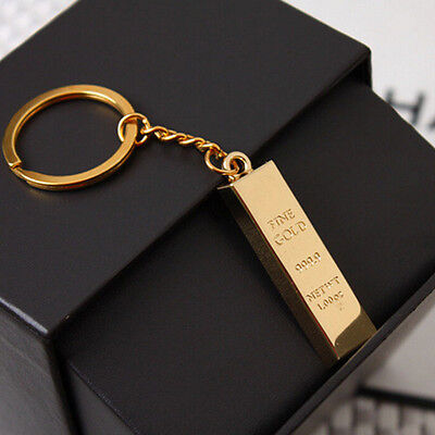 Metal Faux Gold Bar Ingot Bullion Keychain Key Chain Keyring Keyfob Party Gift J