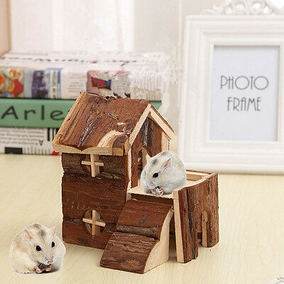 Two Storey Natural Wood House With Ramps Hamster Degu Mice Guineapig Animal UK
