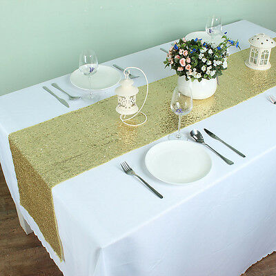 """12"""" x 72"""" Sparkly Sequin Table Runners For Wedding Party Banquet Decoraiton"""