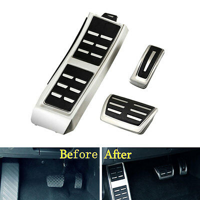3x AT Footrest Fuel Gas Brake Pedals Plate Cover For Audi A4 A5 A6 A7 Q5 13-16
