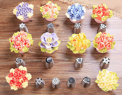 7PCS Russian Icing Nozzles Piping Pastry Tips Cake Crafts Decorating Tool Set