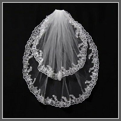 2T Elbow lace Applique Wedding Veil With Comb Bridal veils ivory White Vail