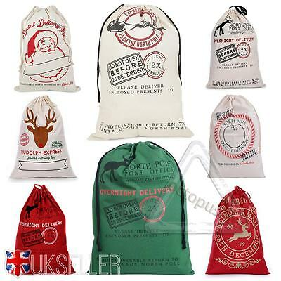 Large Christmas Xmas Santa Sack Reindeer Delivery Gift Presents Bag Stocking UK