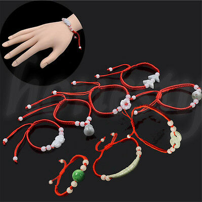 Jade Beads Red String Rope Bracelet Good Luck Lucky Success Moral Amulet Unisex