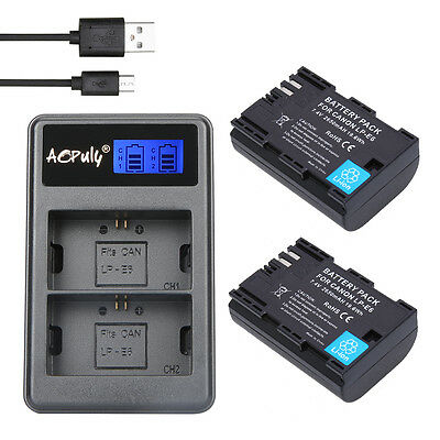 LP-E6 Battery + LCD Dual Charger + Plug for Canon EOS 5DS R 5D Mark II 5D