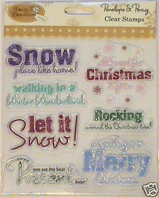 Papermania set clear rubber stamps Merry Christmas let it snow winter wonderland