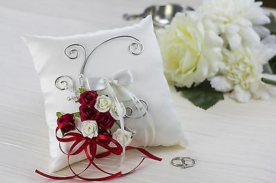 Wedding Ring Pillow, Cushion, Ivory Satin, Ivory and Red roses A024