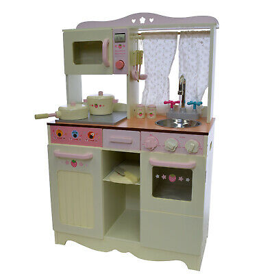 Toy Kitchen Wooden Pretend Play Cooking Set Cream Strawberry Country Cottage