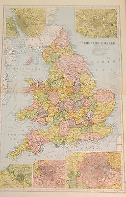 Map of England and Wales. c1920. Bacon Atlas. UK. EUROPE
