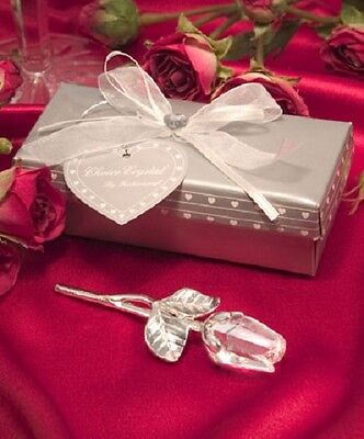 3 x Crystal Clear Long Stem Rose Favours - Wedding and Party Favours - NEW