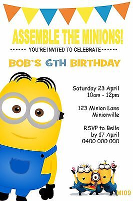 MINIONS Personalised Invitation Birthday Party Invite Despicable Me You WE PRINT