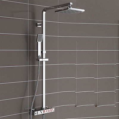 Bath Twin Head Square Thermostatic Shower Mixer Bathroom Exposed Valve Tap Sets