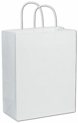 """250 White on Kraft Paper Bags Shoppers Lindsey Handles 10 x 5 x 13"""""""