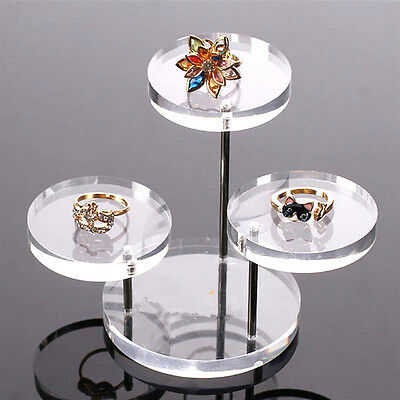 Acrylic Jewelry Display Necklace Bracelet Round Table Holder Stand Rack Case New